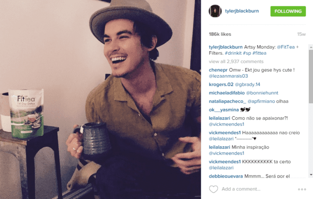Tyler Blackburn celebrity social post.