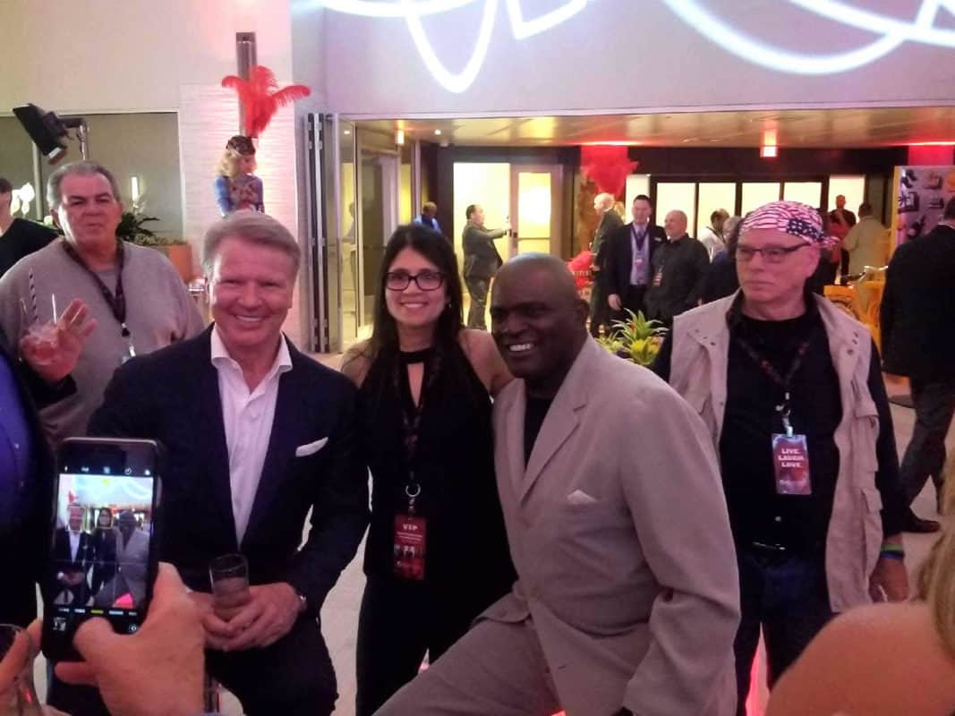 Lawrence Taylor & Phil Simms together again courtesy of The CShop for Resort World Catskills opening.