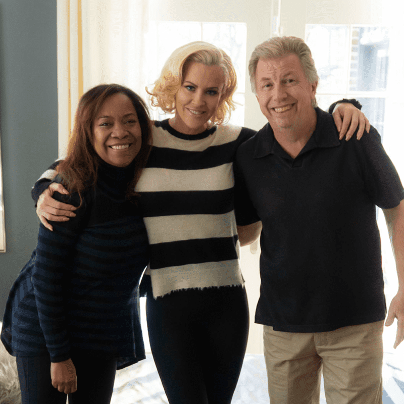 Jenny McCarthy Wahlberg with Bob & Toli on location.